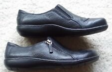 CLARKS Bendables  Black Pebbled Leather Loafers Shoes womens 80628 Side Zip 6,5M