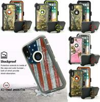 For iPhone XS MAX XR X American Flag Camo Heavy Duty Hard Case Cover Belt Clip