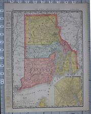 1906 MAP UNITED STATES RHODE ISLAND CITIES & COUNTIES PAWTUCKET NEWPORT BRISTOL