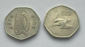LOT OF TWO 1979 AND 1988 IRELAND REPUBLIC 50 PENCE COINS