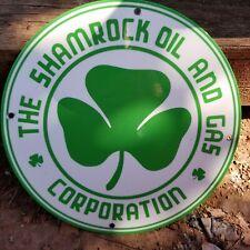 """VINTAGE SHAMROCK  OIL & GAS CORPORATION 11 3/4"""" PORCELAIN METAL GASOLINE SIGN!"""