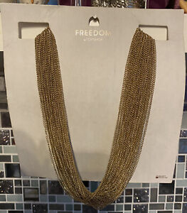 Topshop Freedom Gold Colour Necklace Statement Layered Chain BN