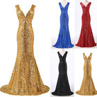 Sequins Dresses LONG Mermaid Wedding Bridesmaid Evening Formal Prom Party Gown ☇
