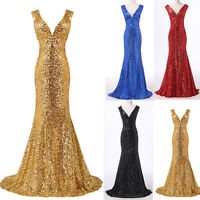 Sparks Sequins Mermaid FISHTAIL Long Sexy Bridesmaid Prom Cocktail Evening Dress