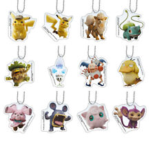 Full set 12 pcs Pokemon Detective Pikachu Keychain Figure Bandai Acrylic Swing