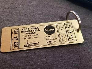 Vtg RARE 1984 NCAA Basketball Finals Brass Keychain Key Fob Ticket G-Town Wins