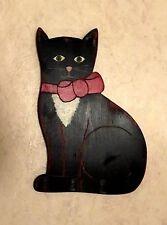 "Vintage Black 14-1/2"" Folk Art Wooden Cat Wall Figure. Beaver Creek, Beaman,Iowa"