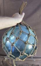 Vintage Antique Old Japanese Glass Hand Blown Fish Float Blue Fishing Ball Net