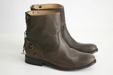 NEW Frye Melissa Button Back Zip Short Ankle Boots Dark Brown Leather 5.5B (X69)