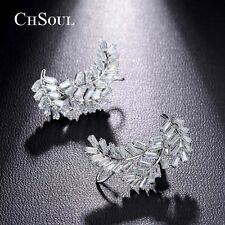 New Fashion Women Charms Vintage Leaf Earrings Gold Plated CZ Ear Stud Jewellery