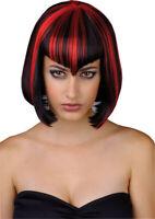 Adult Ladies Vamp Babe Black & Red Halloween Fancy Dress Costume Vampire Wig