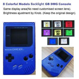 Blue Refurbished 8 Color Palettle RIPS Backlight Nintendo Game Boy DMG Console