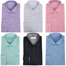 Mens Formal Shirts Long Sleeve Full Collar Party Wedding Office Work Casual Tops