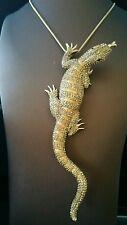 "Anhänger & Brosche ""Waran"" Messing Vergoldet Kristalle RIESIG 165mmx45mm Reptil"
