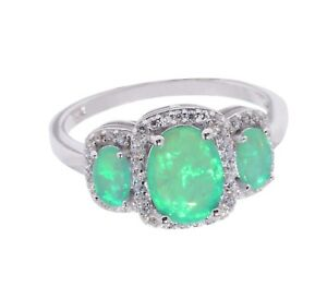 Triple Oval Green Opal Fashion Clear Round CZ Halo Sterling Silver Ring