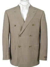 NEW $1495 Hickey Freeman Wool Linen Double Breasted Suit! 42 L Pinstripe US Made
