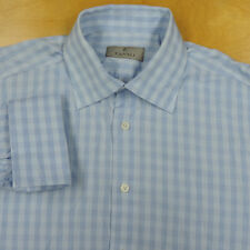 Current CANALI 1934 White & Blue Check Glen Plaid Poplin FC Shirt 16 Italy