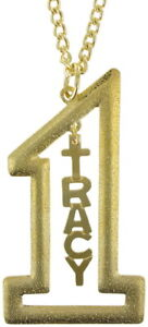 """Vintage Gold Tone Number #1 Name Plate Pendant 2 1/2"""" + Necklace 22"""" - Tracy"""