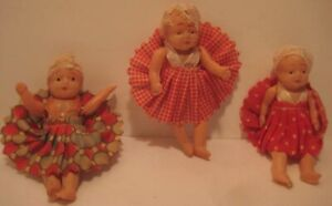 3 Old Miniature Jointed Celluloid Dolls w/ Clothing 1930s Japan