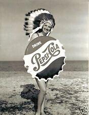 5x7 photo  PEPSI-COLA INDIAN HEAD DRESS GIRL BOTTLE CAP BEACH PIN-UP WOMAN