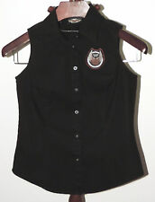 Harley Davidson Sleeveess Black Blouse Small Size 105 Years Back Rhinestuds