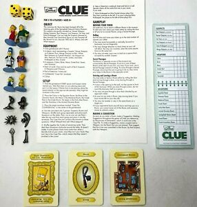 The Simpsons Clue 3rd Edition 2007 Full Set OF Replacement Pieces Cards Manual