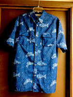 CHAPS Vented Fishing Shirt Blue Fish Short Sleeve Outdoor Buttons 2 Pockets Sz L