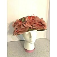 Vintage Straw Sunhat Wide Brim with Pink Silk Flowers Millinery Made in Italy
