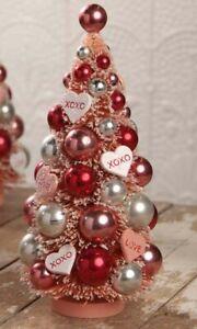 Bethany Lowe XOXO Valentine's Day Bottle Brush Tree Pink Red