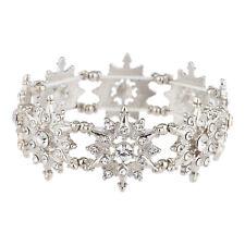 Lux Accessories Silver Tone White Winter Snowflakes Crystal Rhinestones Bracelet