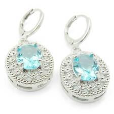 Jewelry Gift Crystal Zircon Blue Sapphire Topaz  Earrings Ear Stud Cli New