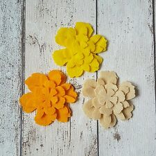 12 felt Flowers Spring Yellow Shades die cut, headbands, bobbles, tutus, crafts