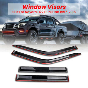 4pcs Weathershield, Weather Shields Fit For Nissan Navara D22 Dual Cab 1998-2015