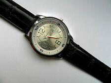 Very Smart Silver Faced Geneva Quartz Watch Black Strap