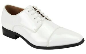 Men's Tuxedo Dress Shoes White Patent Leather Cap Toe Oxford AFTER MIDNIGHT 6805