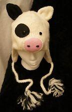 deLux ~ HAMPSHIRE PIG HAT black white CAP toque beanie costume LINED knit ADULT