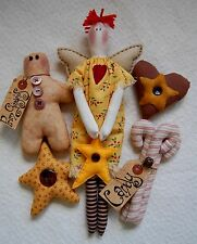 PRIMITIVE FOLK ART SEWING PATTERN 'PRIM CHRISTMAS' ANGEL & CHRISTMAS DECORATIONS