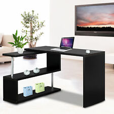 Computer PC Office Corner Desk L Shape Home Workstation Table with Shelves Black