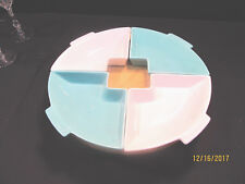 CALIFORNIA POTTERY MIDCENTURY LAZY SUSAN PIECES AND BASE TURQUOISE & OFF-WHITE