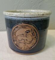 Blue & Tan Art Pottery Santa Face Crock for a Candle, Candy Canes or Utensils