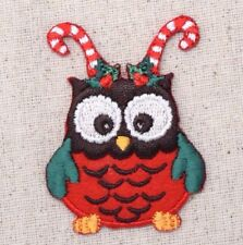 Owl - Candy Cane Antlers/Holly Christmas - Iron on Applique/Embroidered Patch