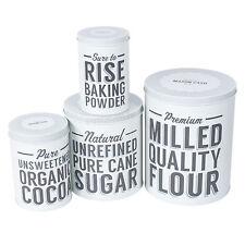Set of 4 Flour Sugar Baking Powder Kitchen Storage Tins Vintage Retro Containers