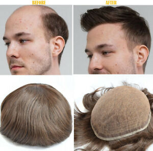 Mens Toupee Hairpiece Full SWISS LACE Wig Human Hair Replacement System gold