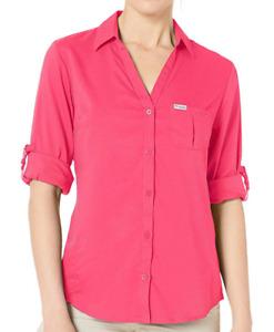 NEW Columbia PFG Armadale Women's Long Sleeve Shirt Bright Geranium 3X