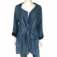 Women sz L Lace Hoodie Roll up Sleeves Draw String Chambray Cotton Jacket Coat