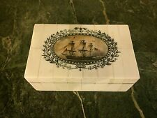Antq. Style Folk Art  Ship Scrimshaw Etched & Painted  Wood Trinket Box