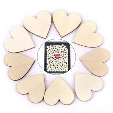 50X Blank Plain Wooden Love Heart Shape Wedding Plaques Art Craft #