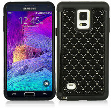 For Samsung Galaxy Note 4 Hybrid Studded Diamond Case Cover Black Skin W BK PC