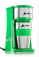 AdirChef Green Grab N' Go Personal Coffee Maker with 15 oz Travel Mug