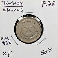 1935 Turkey 5 Kurus, KM# 862, High-Grade Scarce Coin